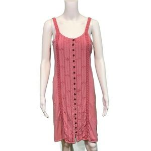 Dresses & Skirts - Made in India Pink Button Front Smock Tank Dress